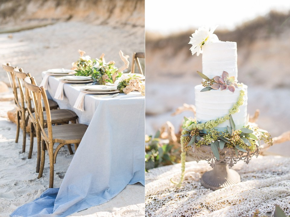 Blue Tablescape + Ombre Wedding Cake with Flowers and Succulents | Mermaid Inspired Beside the Sea Wedding Shoot | www.bricibene.com
