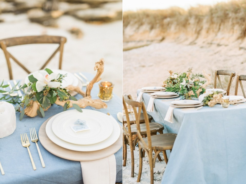 Blue Tablescape with Kate Spade China and driftwood | Mermaid Inspired Beside the Sea Wedding Shoot | www.bricibene.com