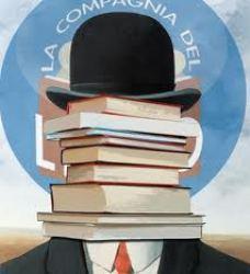 disegno tipo Magritte di uomo nascosto da libri