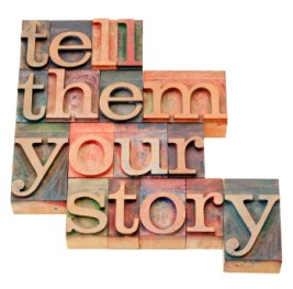 "scritta ""tell them your story"""