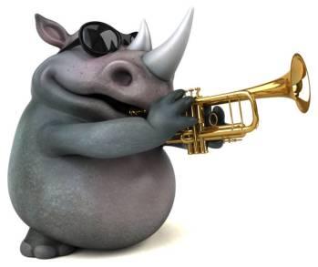 rinoceronte che suona la tromba