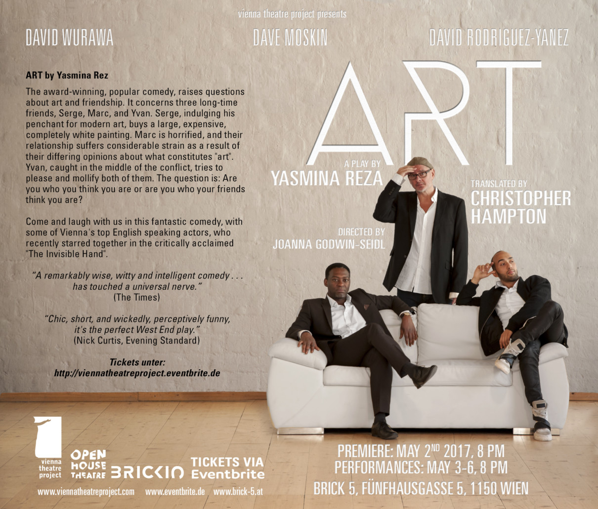"""ART"" by Yasmina Reza -  Vienna theatre project"