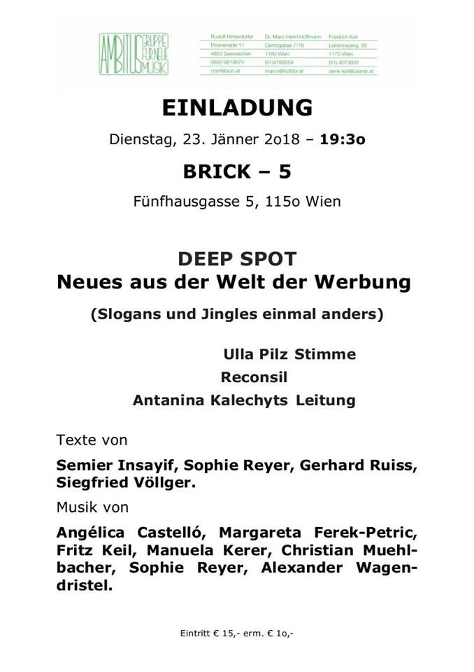 "ensemble reconsil vienna ""DEEP SPOT - Neues aus der Welt der Werbung"""