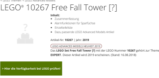 Summary -> Lego Creator Free Fall Tower 10267 Listing For 2018