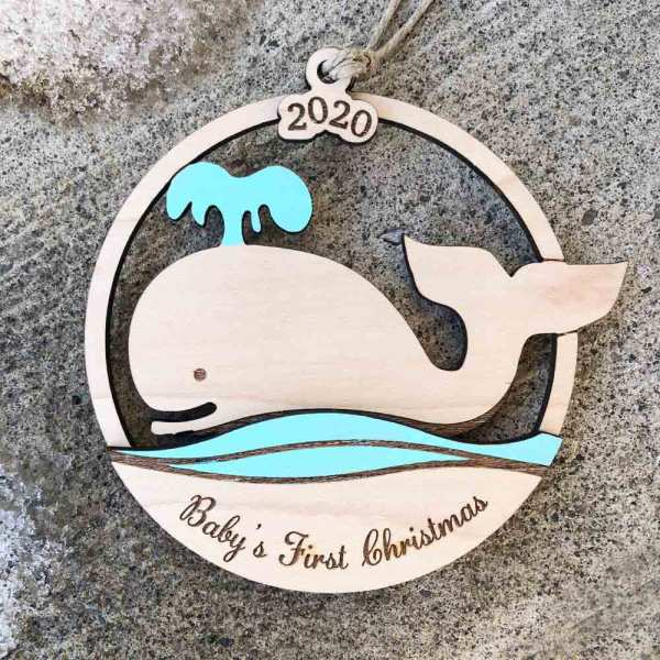 baby whale laser cut ornament