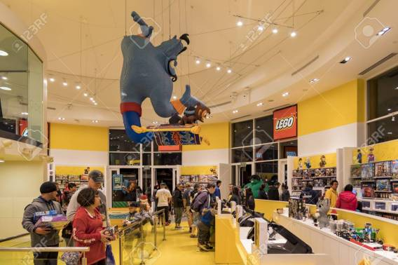Anaheim, NOV 11: Lego store in the famous Downtown Disney District, Disneyland Resort on NOV 11, 2017 at Anaheim, Orange County, California, United States
