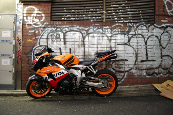 Awesome photo op. Just loved the wall against the clean bike.