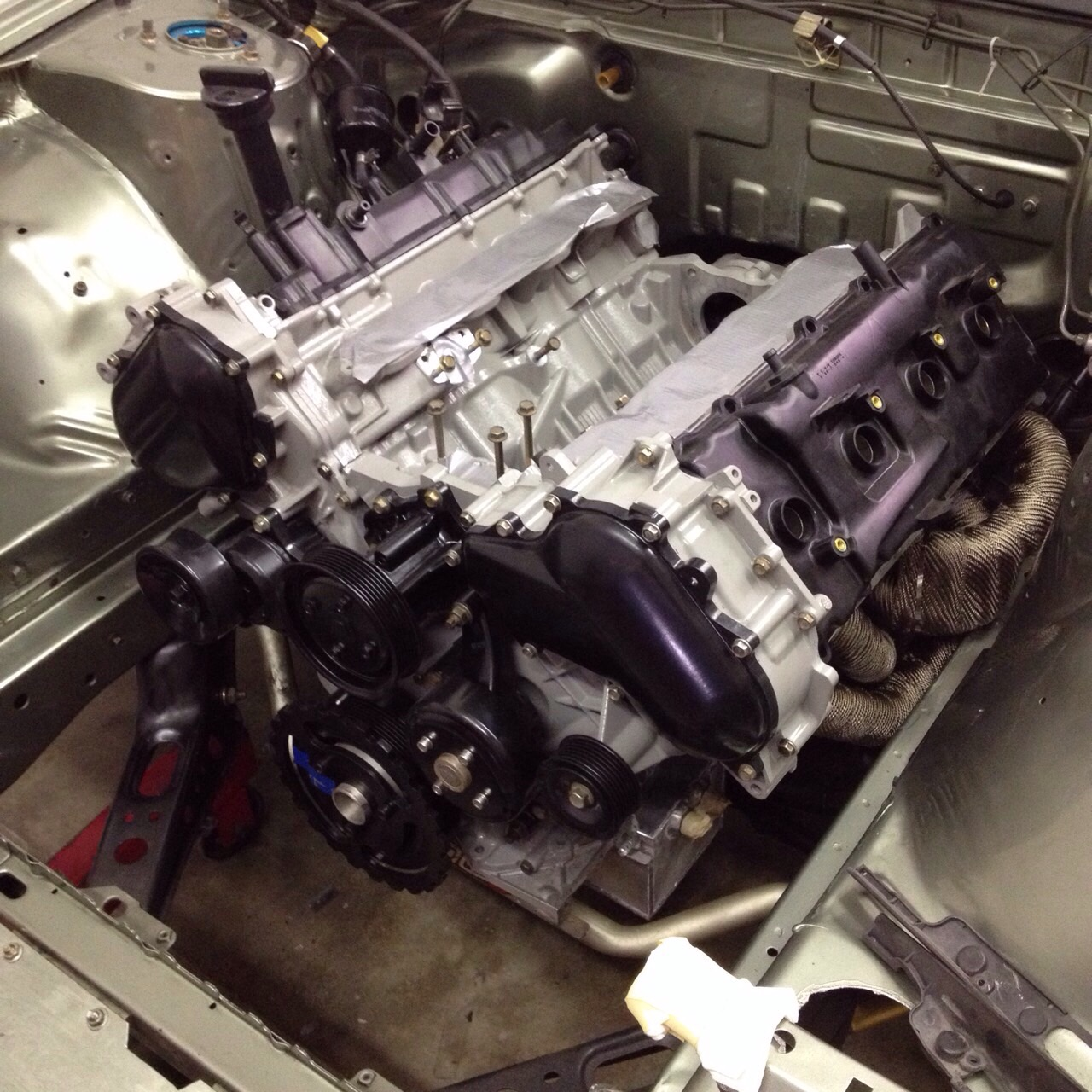 vk56 going in s13 with equal length headers and modified oil pan