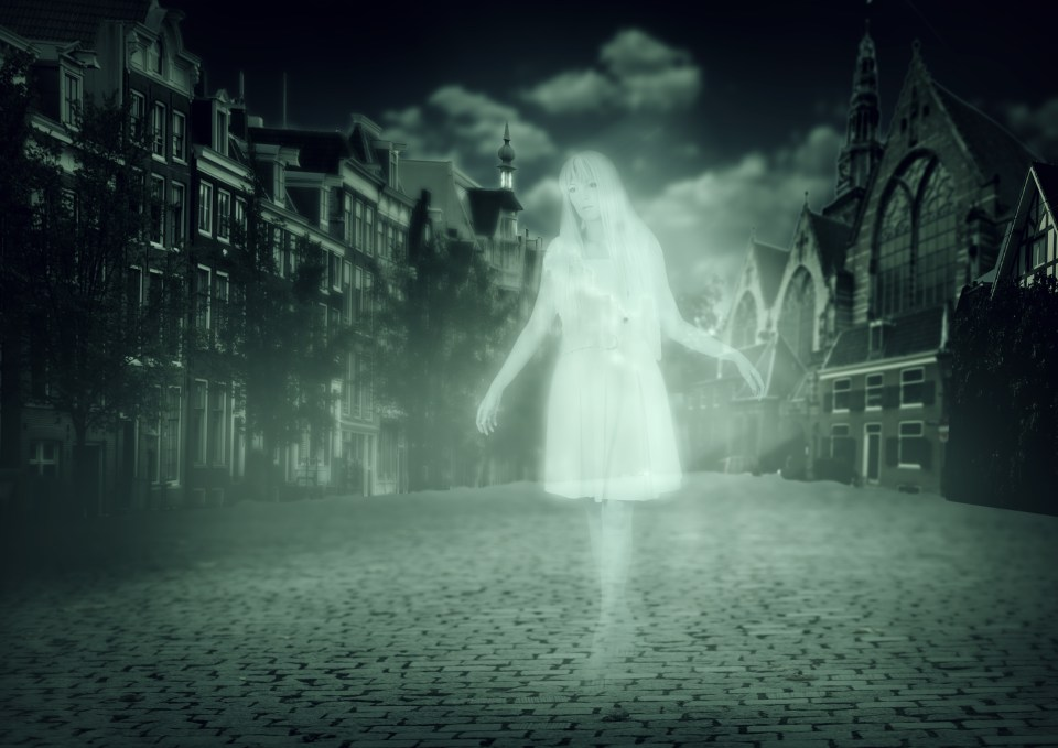 Image of ghost walking down the street