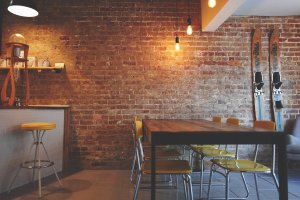 brick wall, chairs, furniture
