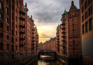 river, buildings, hamburg