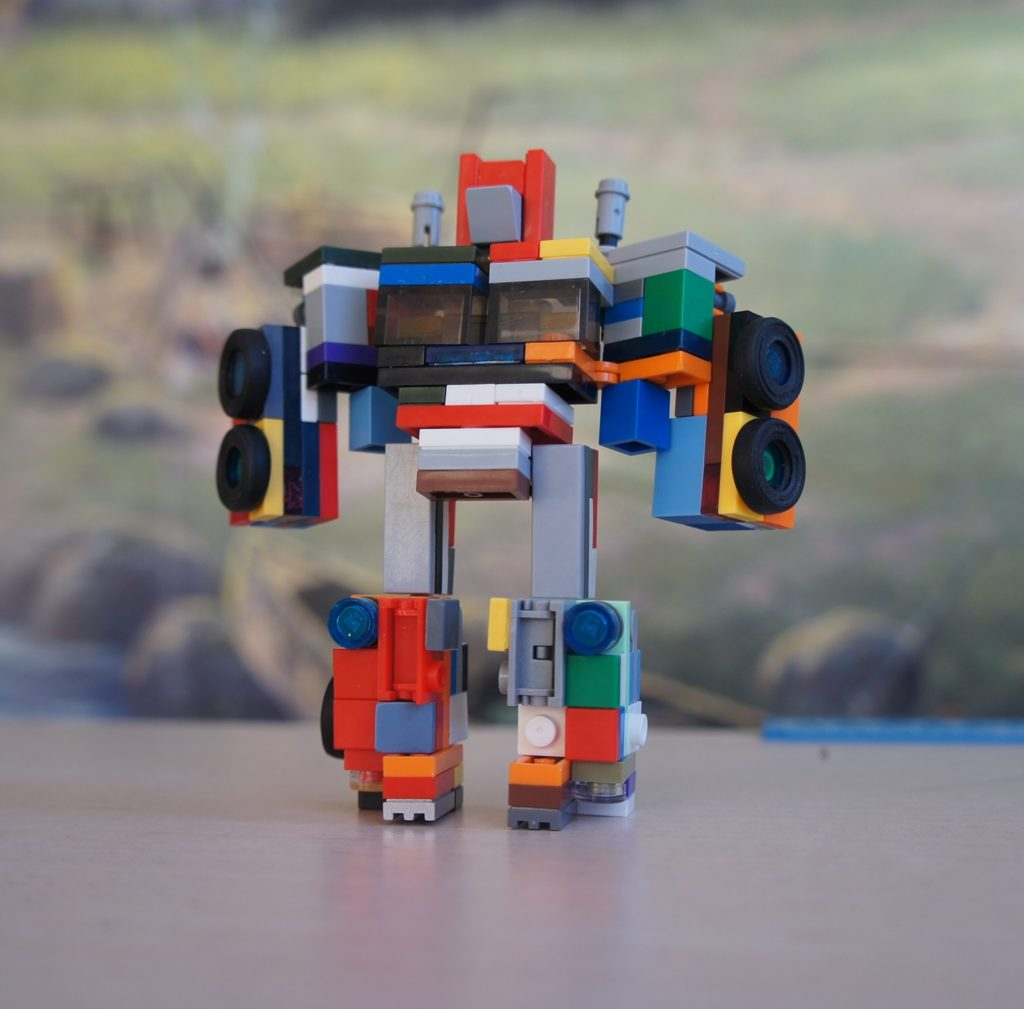 Lego Transformer from old cubes in the form of a robot