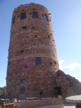 "Exterior of the watchtower. You can see one of the ""cracks"" that Coulter designed for the sake of authenticity at the top! Photograph courtesy of Lindsey Cross"