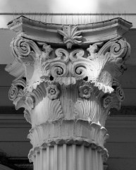 Corinthian colums support the portico