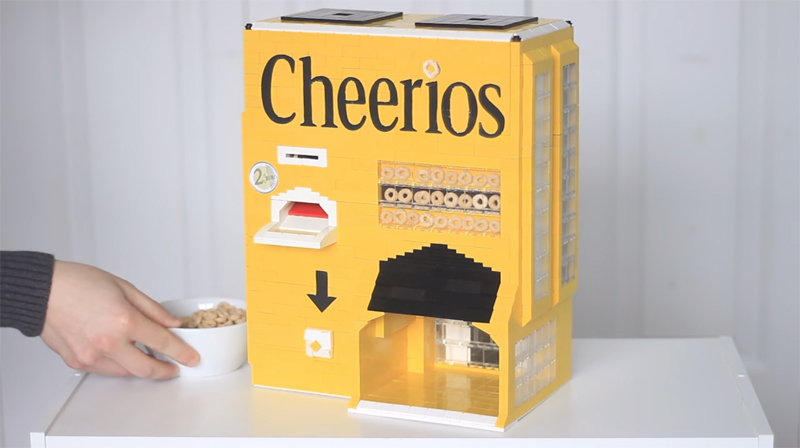 WATCH: This Custom LEGO Cheerios Vending Machine Serves A Bowl of Cereal in the Morning