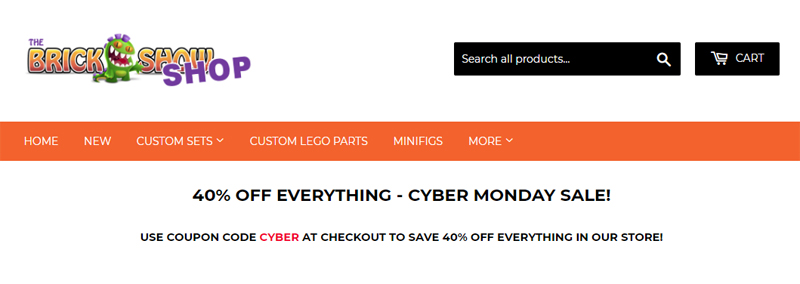 Enjoy HUGE Savings At The Brick Show Shop Only For Today's Cyber Monday!