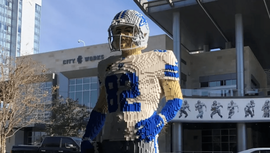 2fc3bf9cc5c Retired NFL Player Jason Witten Honored with LEGO Statue Outside Dallas  Cowboys HQ - The Brick Show