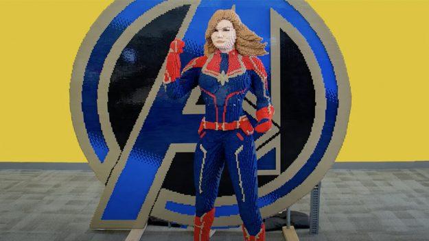 "LEGO Designers Make Brick-Built Captain Marvel Statue to Help Promote ""Avengers: Endgame"""