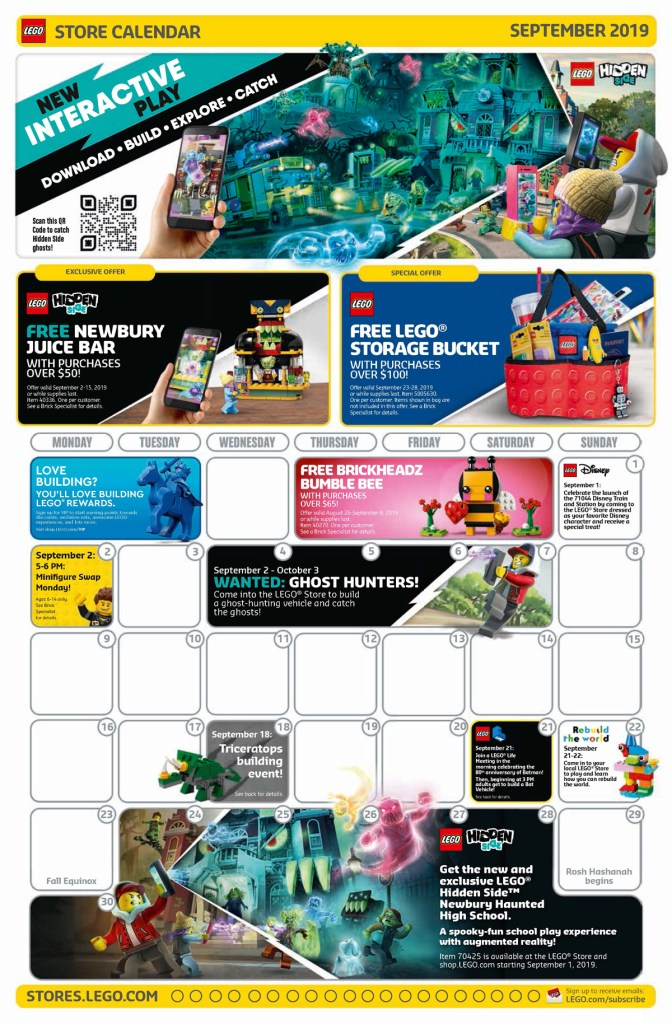 The LEGO Store September 2019 Calendar Is Now Available