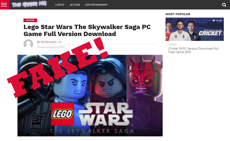 Avoid This LEGO Star Wars Skywalker Saga Fake Download