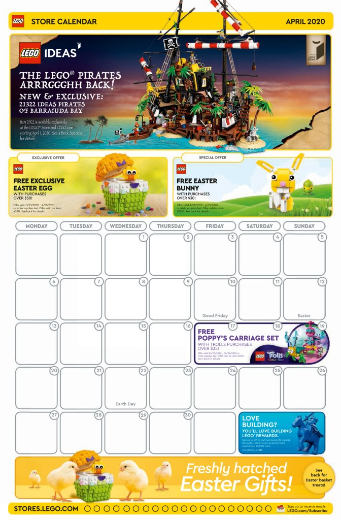 April 2020 LEGO Store Calendar Now Available