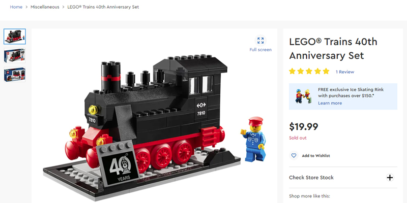 LEGO Trains 40th Anniversary Set (40370) Listed at LEGO Shop@Home