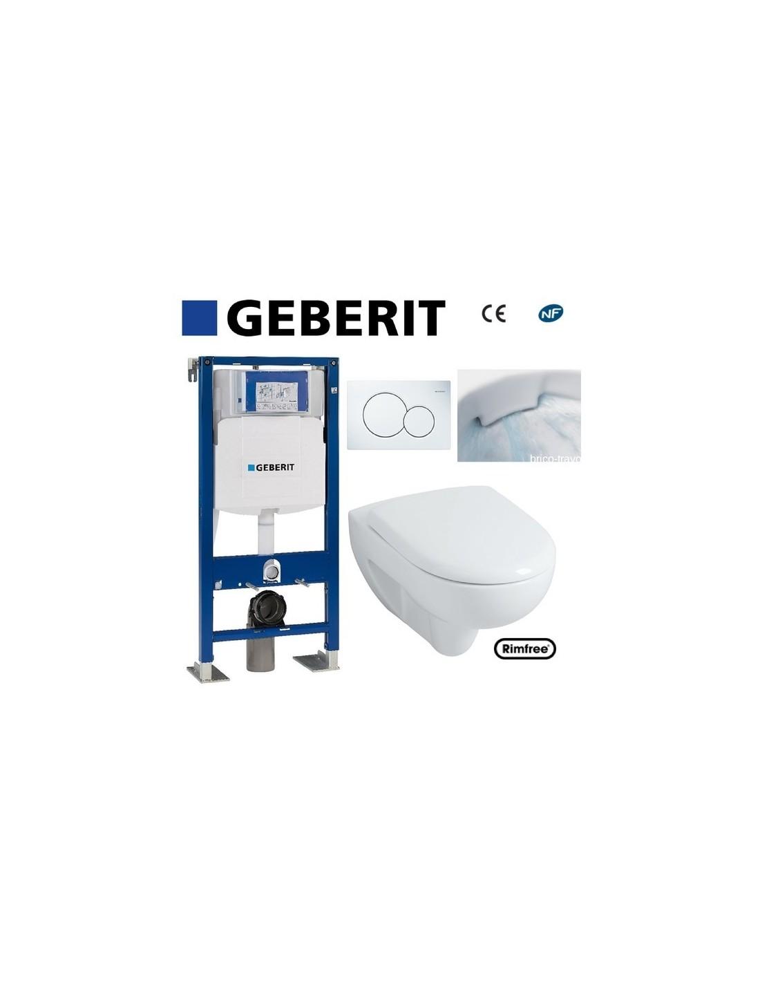 WC Suspendu Geberit Plaque Blanche Rimfree Complet