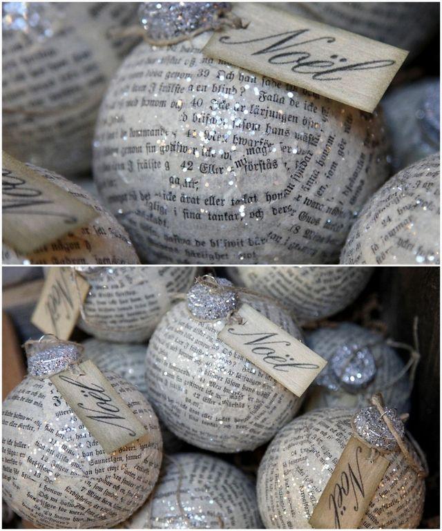 Adornos navideños con papel de periódico