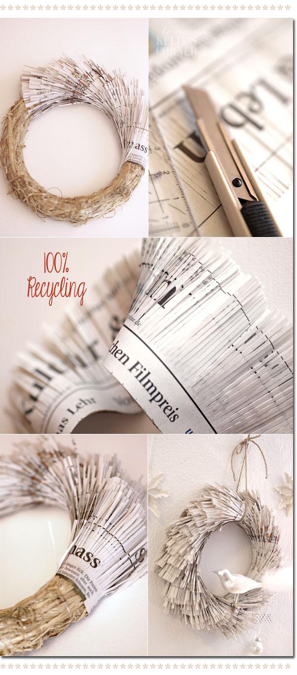 corona de Navidad hecha con papel de periódico reciclado