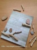 tableau pioux galets et bois