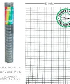 Malla Electrosoldada Galvanizada 13x13 / Altura 100 cm. Rollo 25 Metros Uso Domestico