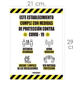 Rotulacion Cartel Cumple Normas Covid19 Adhesivo Tamaño Folio (A4 )