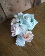 Mint and pink pearl wrist corsage