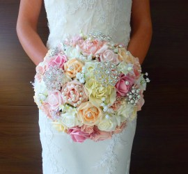 Bright pink yellow pastel brooch bouquet
