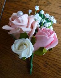 Double pink and ivory pearl buttonhole