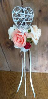 Peach deep red pink flower girl wand