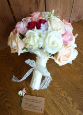 Peach pink and red rose lace artificial bouquet