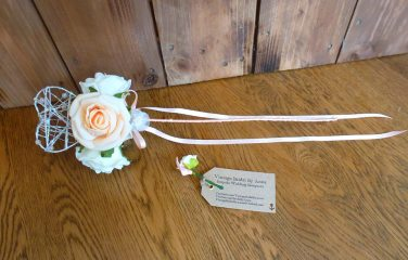 Peach roses heart wand flowergirl