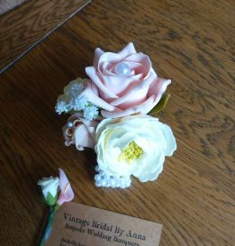 Pearl rose and peony wirst corsage