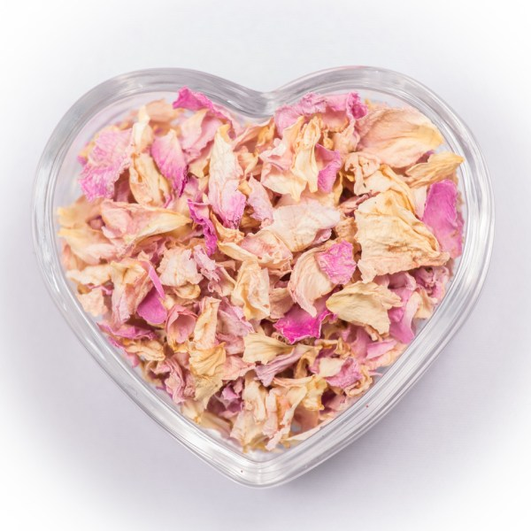 pink ivory dried real petal confetti