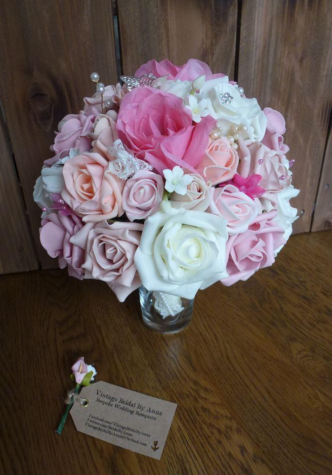 Pink fuschia and ivory foam bouquet