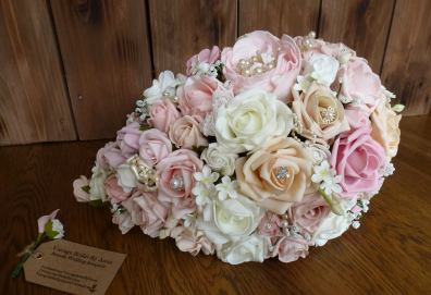 Pink and peach artificial waterfall bouquet