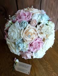 Pink peach and mint diamante bridal bouquet