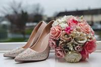 Pink rose foam wedding bouquet shoe