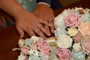 close up pink and peach blue wedding bouquets