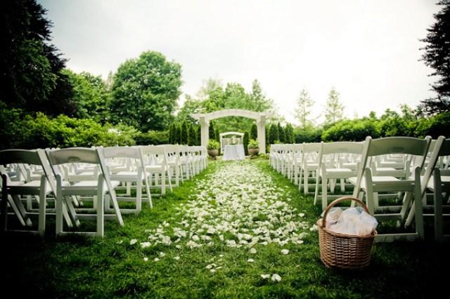 outdoor wedding petals aisle