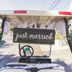 just married golf buggy