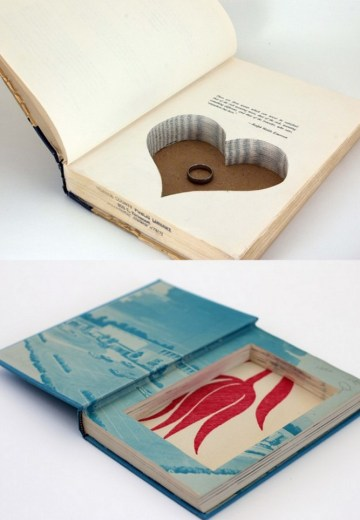 hollowed out book ring pillow alternative