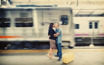 A Nostalgic Train Station Engagement Shoot