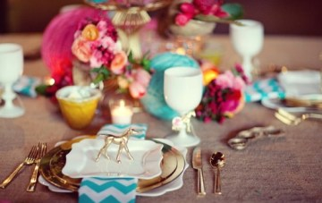 Decadent Equestrian & Chevron Place Setting